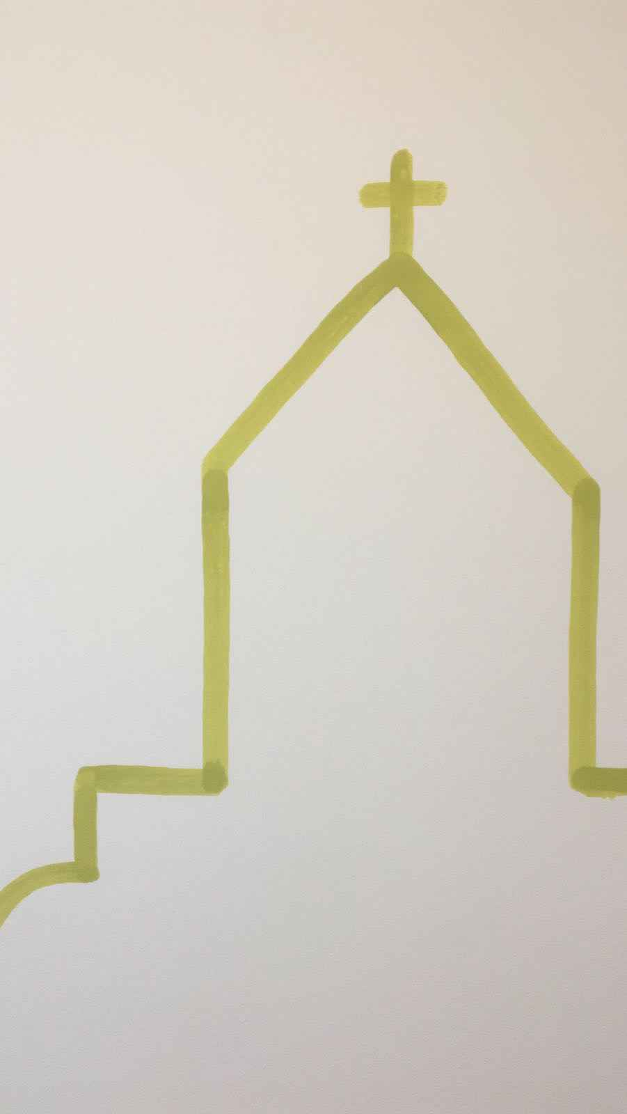 Kirche Liniengrafik grün