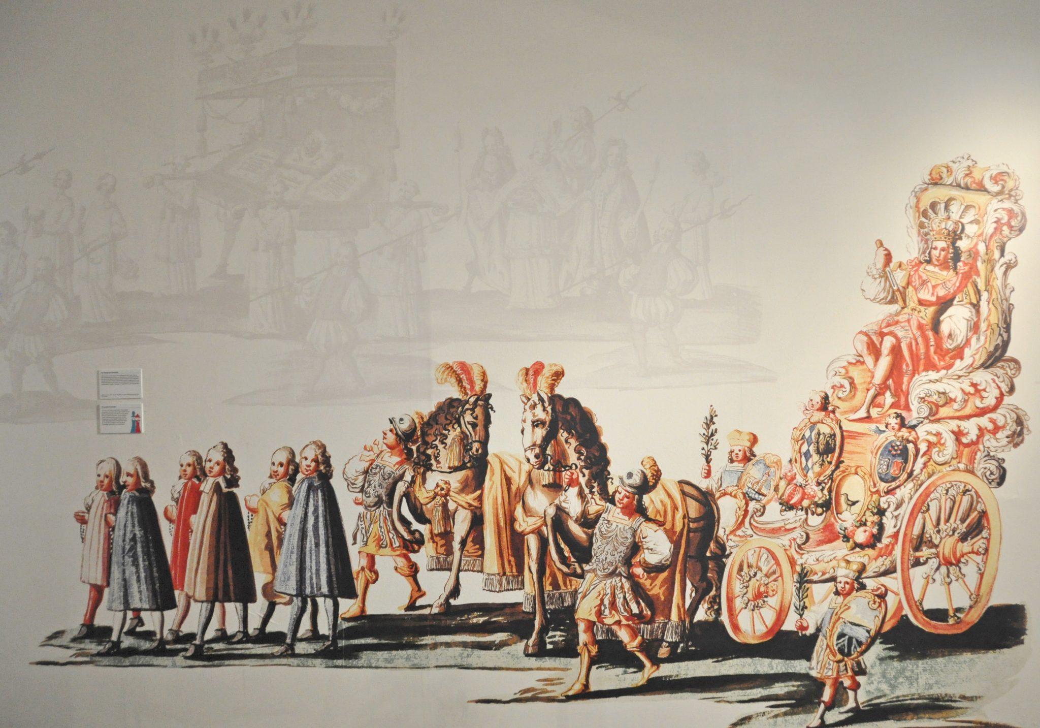 Gangbereich mit Großdruck aus dem Triumphzug Kaiser Maximilians