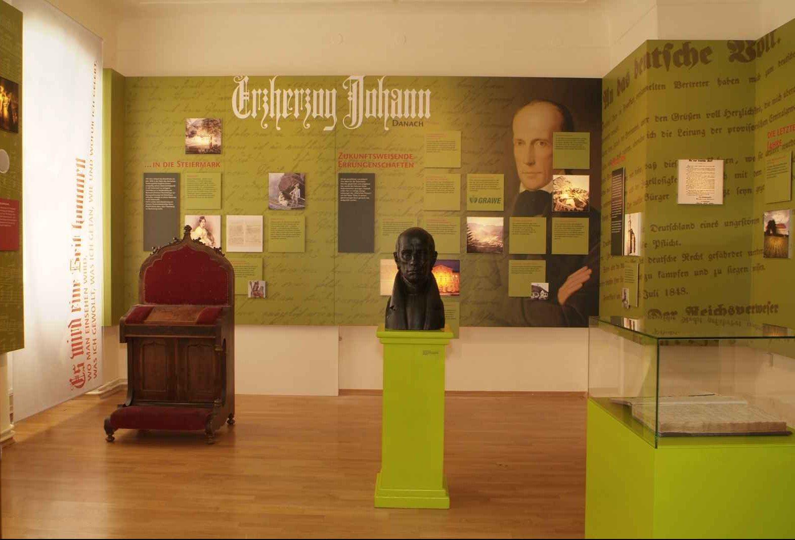 Pfarrhaus Erzherzog Johann mit Büste und Gebetsstuhl
